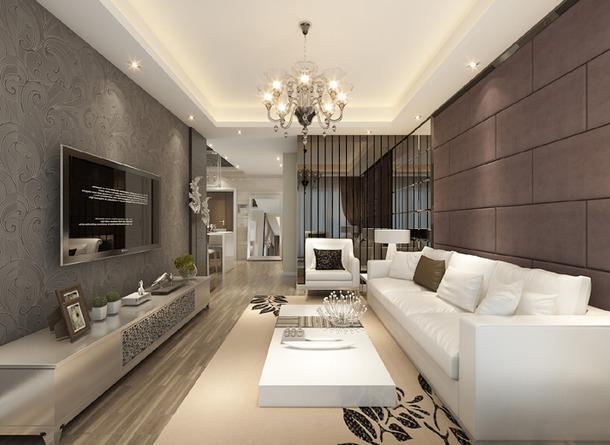 89平米 新中式简约风两居家庭时尚装修效果图 浪漫家装